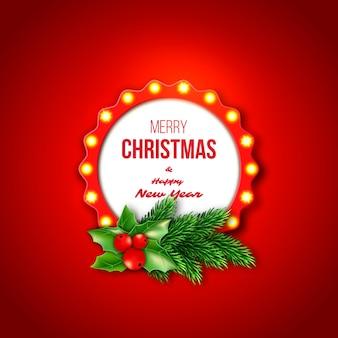 Quadro retrô de natal com luzes brilhantes realistas, galhos de pinheiro e azevinho. fundo de cor vermelha. feliz natal e feliz ano novo texto.