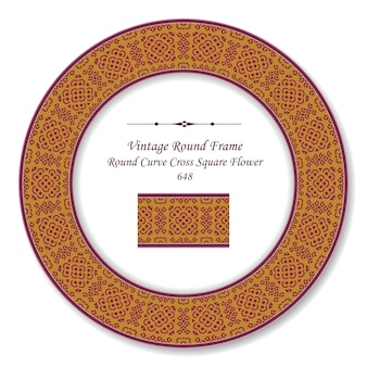 Quadro retro redondo vintage curva cruzada flor quadrada, estilo antigo