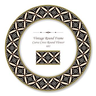 Quadro retro redondo vintage curva cruzada flor redonda, estilo antigo