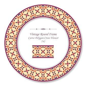 Quadro retro redondo vintage curva polígono cruz flor, estilo antigo