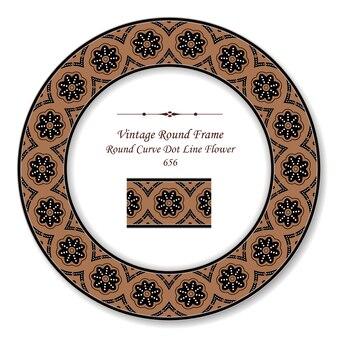 Quadro retro redondo vintage curva ponto linha flor, estilo antigo