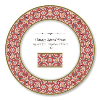 Quadro retro redondo vintage de flor de fita cruzada redonda