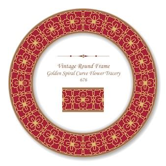 Quadro retro redondo vintage dourado espiral curva rendilhado de flores, estilo antigo