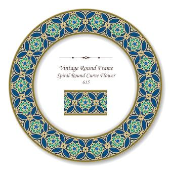Quadro retro redondo vintage flor curva redonda espiral, estilo antigo