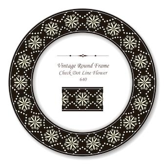 Quadro retro redondo vintage linha pontilhada flor cruzada estilo antigo