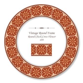 Quadro retro redondo vintage verificar flor cruzada, estilo antigo