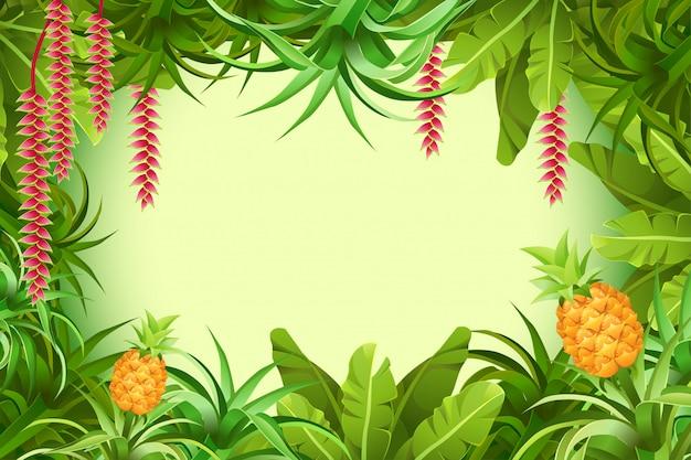 Quadro selva tropical com plantas e folhas.