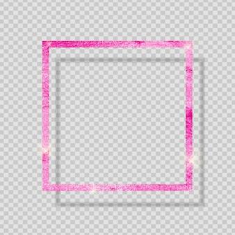 Quadro texturizado brilhante tinta rosa em fundo transparente. ilustração vetorial eps10