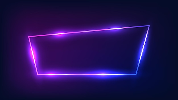 Quadro trapézio de néon com efeitos brilhantes em fundo escuro. pano de fundo vazio de techno brilhante. ilustração vetorial.