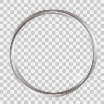 Quadro triplo de círculo brilhante de prata com efeitos brilhantes e sombras em fundo transparente. ilustração vetorial