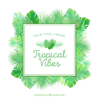 Quadro, tropicais, palma, folhas