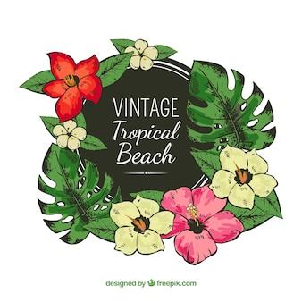 Quadro tropical com flores em estilo vintage
