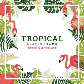 Quadro tropical com folhas em estilo simples