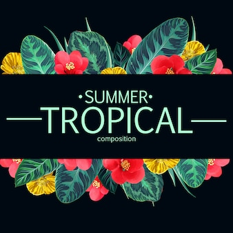 Quadro tropical das flores e das folhas do verão. design floral havaiano