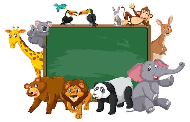 Quadro vazio com vários animais selvagens