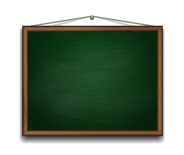 Quadro verde em moldura de madeira. ilustração do fundo da volta à escola