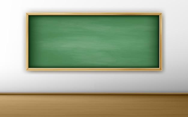 Quadro verde na sala de aula com parede branca e piso de madeira