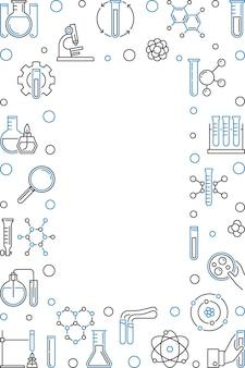 Quadro vertical com ilustração de ícone de contorno de química