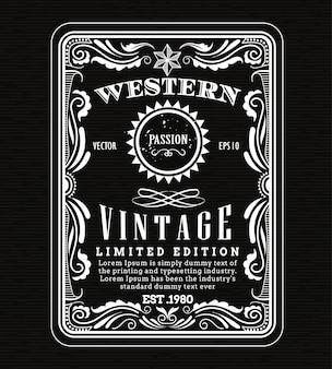 Quadro vintage fronteira ocidental rótulo retrô moldura mão desenhada