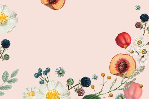 Quadro vintage vetor padrão floral de verão