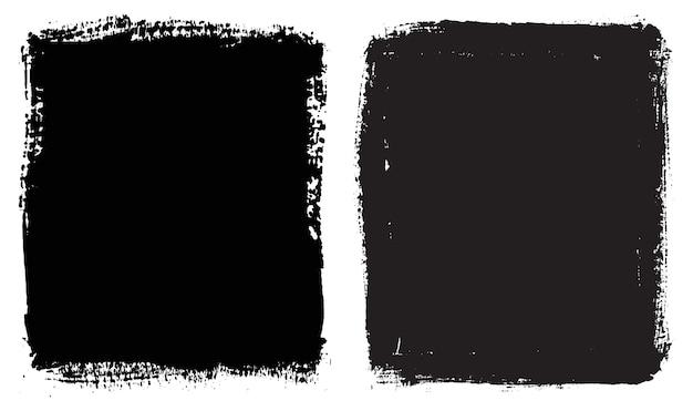 Quadros abstratos pintados à mão em preto