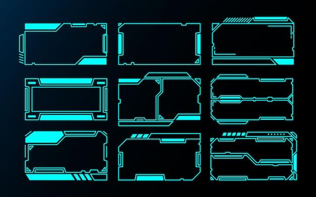 Quadros abstratos tecnologia interface futurista hud design para jogos de interface do usuário.
