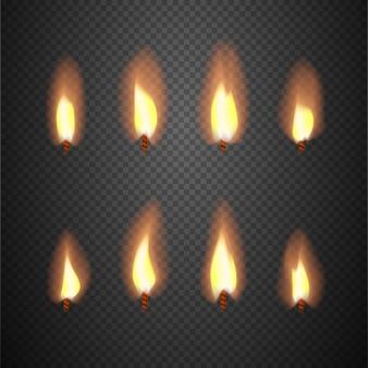 Quadros ardentes do vetor da animação da chama de vela. queima de pavio isolado no fundo quadriculado illustra
