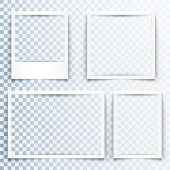 Quadros brancos em branco com efeito de sombra realista