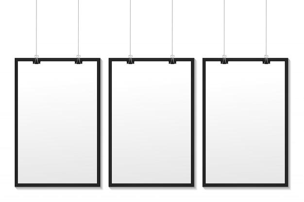 Quadros brancos realistas sobre fundo branco para decoração e identidade corporativa.