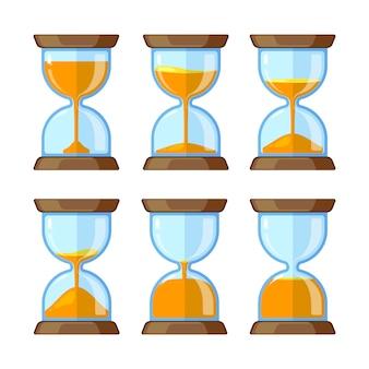 Quadros-chave de ampulhetas isoladas. imagens de vetor para animação. ilustração, de, ampulheta, tempo, cronômetro, relógio, vidro