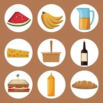 Quadros circulares de comida e elementos de piquenique