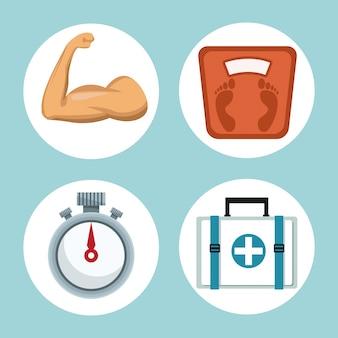 Quadros circulares de elementos saudáveis para esporte