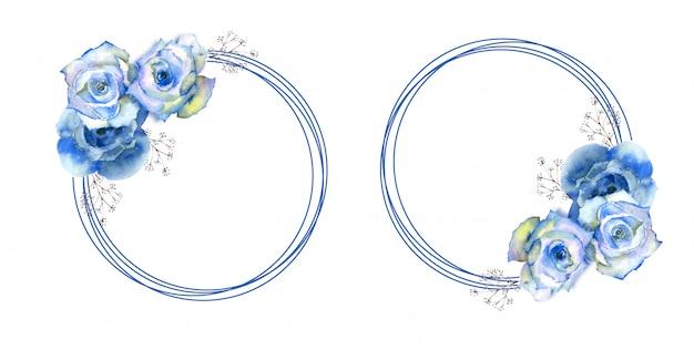Quadros com flores rosas azuis na moldura redonda sobre fundo branco isolado.