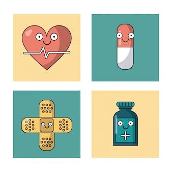 Quadros com pulso cardíaco e pílula e proibição de ajuda e garrafa de medicamentos