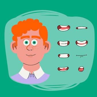 Quadros de animação de boca de personagem de desenho animado