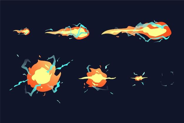 Quadros de animação de explosão de desenho animado