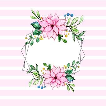 Quadros de arame de listras de flores em aquarela