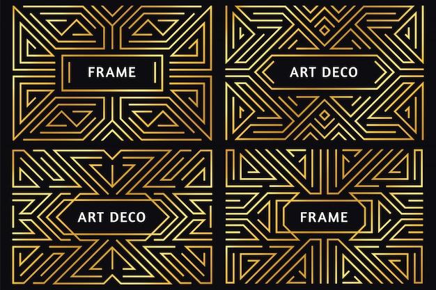 Quadros de arte deco. borda de linha dourada vintage, ornamento decorativo de ouro e ilustração de fronteiras de quadro geométrico abstrato de luxo