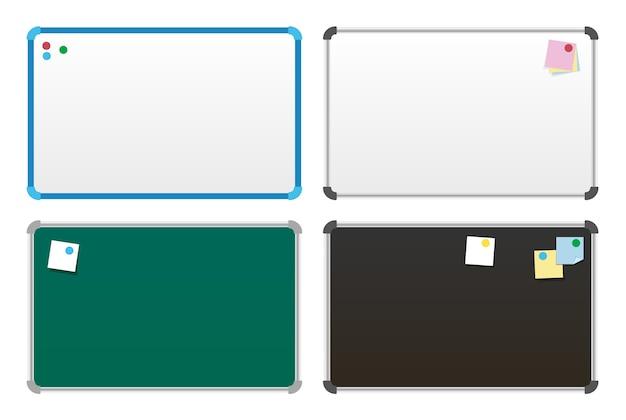 Quadros de avisos com adesivos. quadro de tarefas com notas adesivas do plano diário. quadro de adesivos.