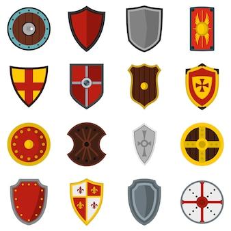Quadros de blindagem definir ícones planas