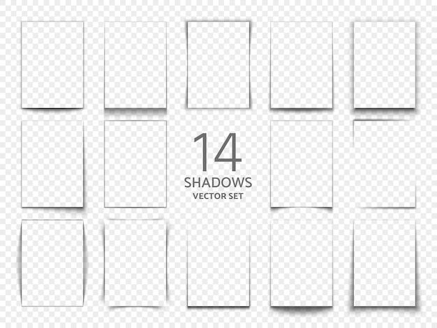 Quadros de caixa de sombra retangular de folhas de papel. efeito de sombras transparente 3d. efeito transparente de sombra. ilustração vetorial