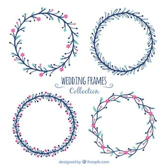 Quadros de casamento redondas em design plano
