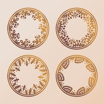Quadros de círculo de ouro mão desenhada