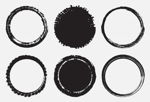 Quadros de círculo no estilo grunge