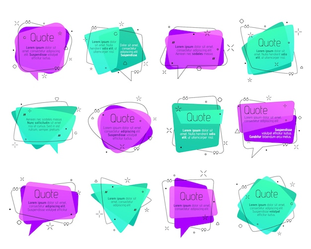 Quadros de citação, balões de fala, caixas de texto de comentário