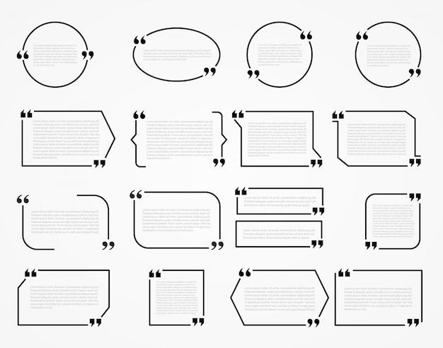 Quadros de citação, modelo em branco com citação de design de informações de impressão