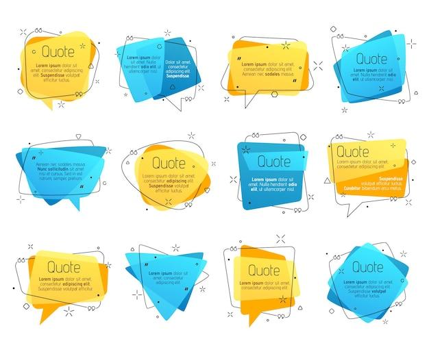Quadros de citações, caixas de comentários de bolhas de discurso de vetor para mensagens de texto e mensagens. modelos em branco coloridos para informações de texto. símbolos de cotação com vírgulas invertidas, conjunto de elementos isolados em fundo branco