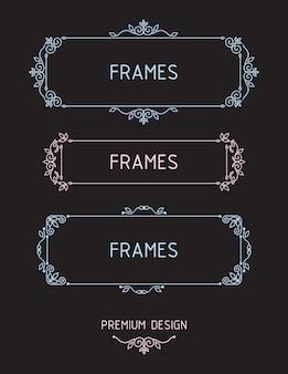 Quadros de contornos vetoriais. modelos de design de elementos.