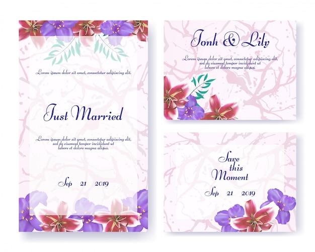 Quadros de convite de casamento definidos em estilo floral