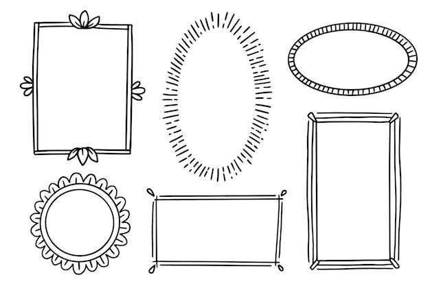Quadros de doodle desenhados à mão
